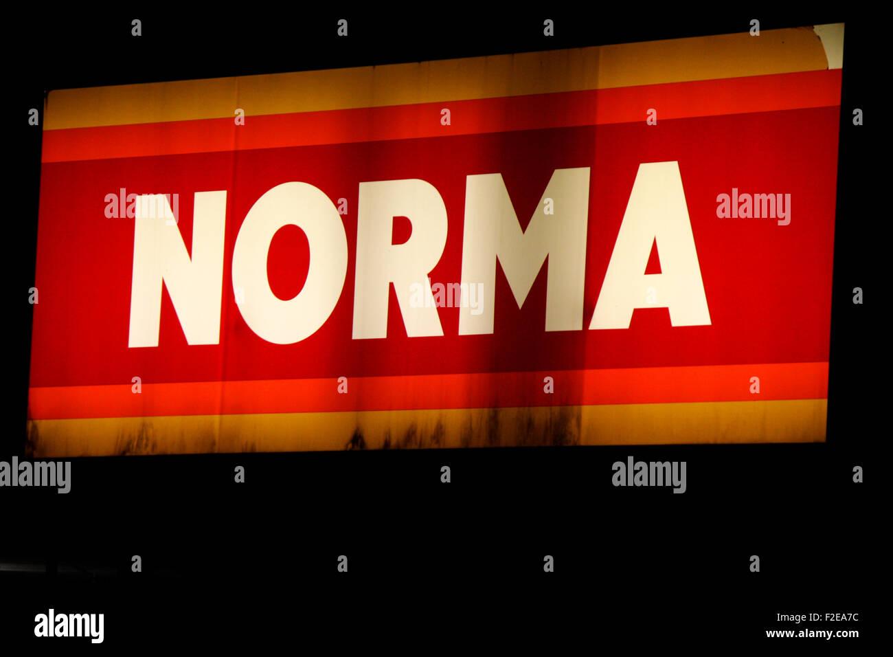 NOVEMBER 2013 - BERLIN: brands: the logo of the discounter 'Norma', Berlin. - Stock Image