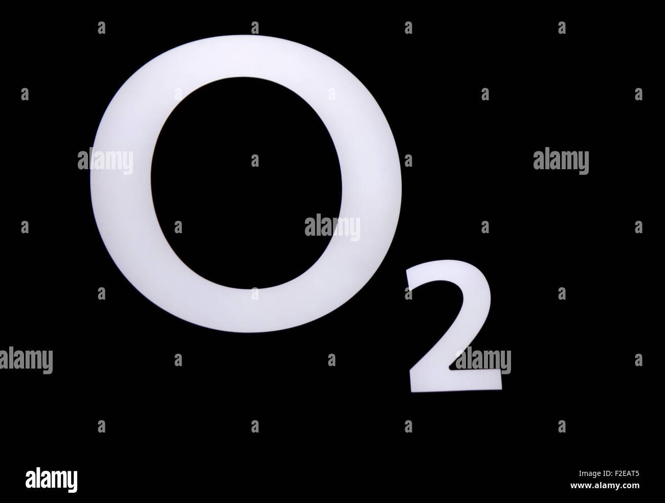 NOVEMBER 2013 - BERLIN: brands: the logo of the telecommunications company 'o2', Berlin. - Stock Image