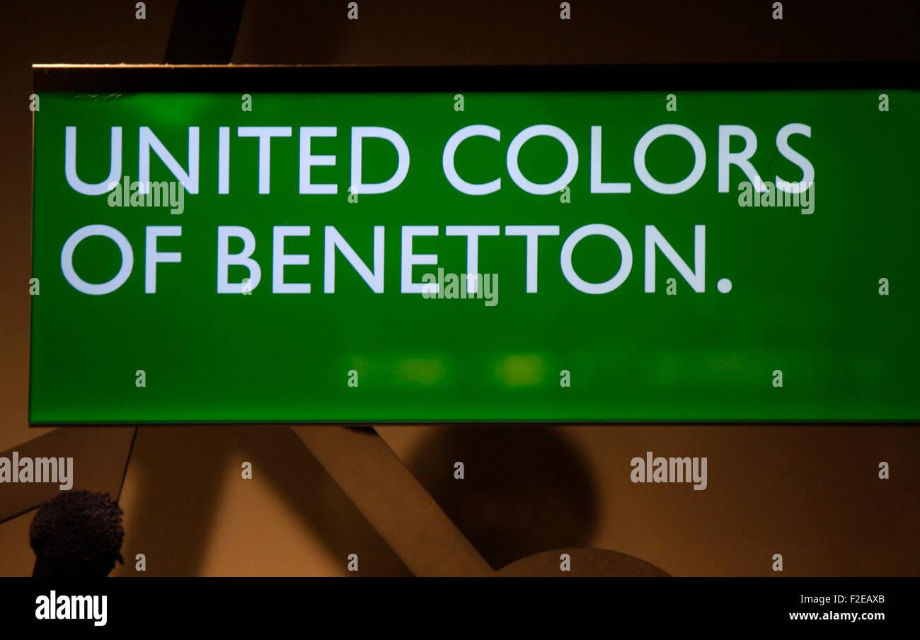 NOVEMBER 2013 - BERLIN: brands: the logo of the clothing company 'Benetton', Berlin. - Stock Image