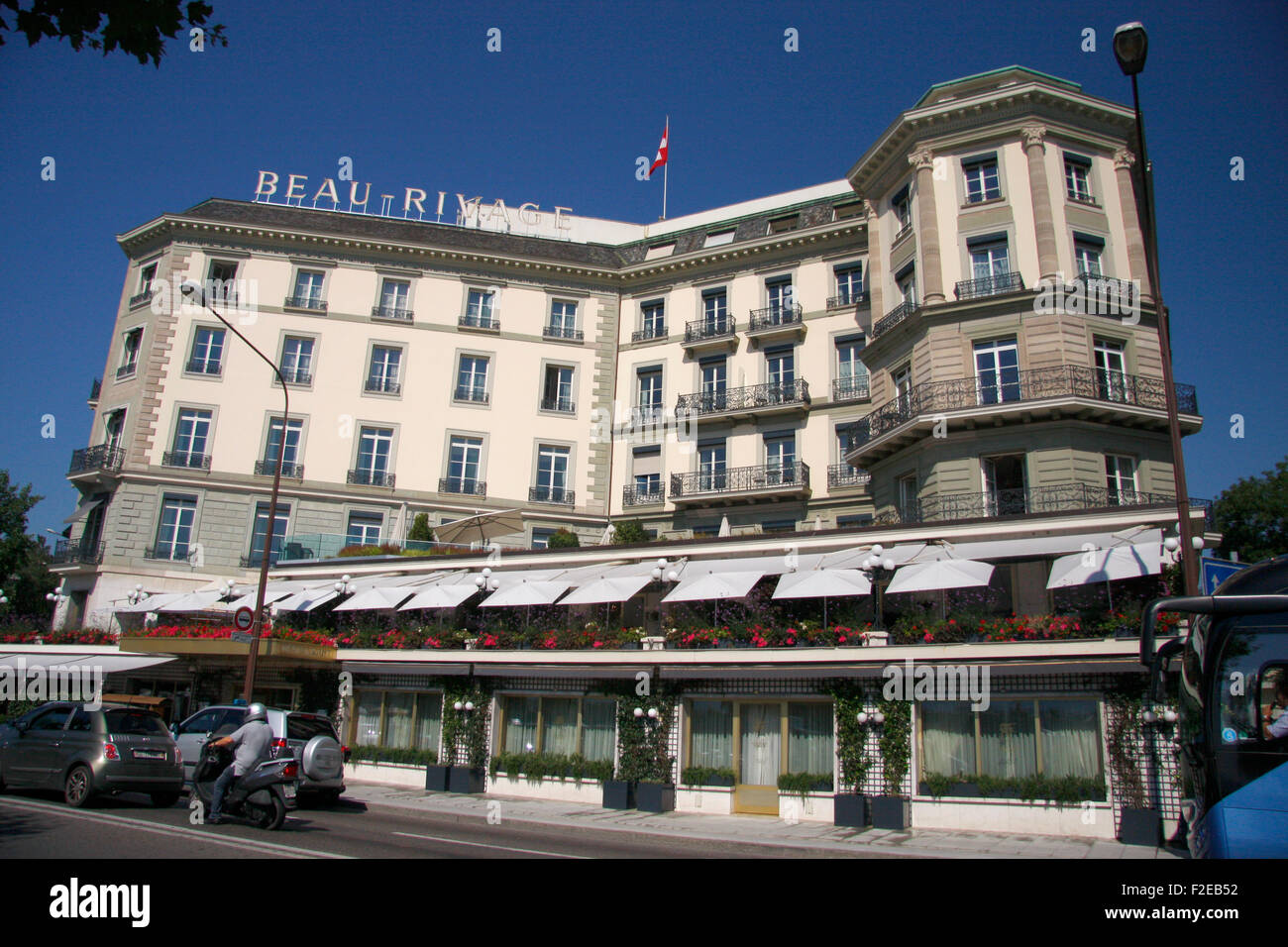 das Hotel 'Beau Rivage', in dem Uwe Barschel gestoeben war, Genfer See, Genf, Schweiz. - Stock Image