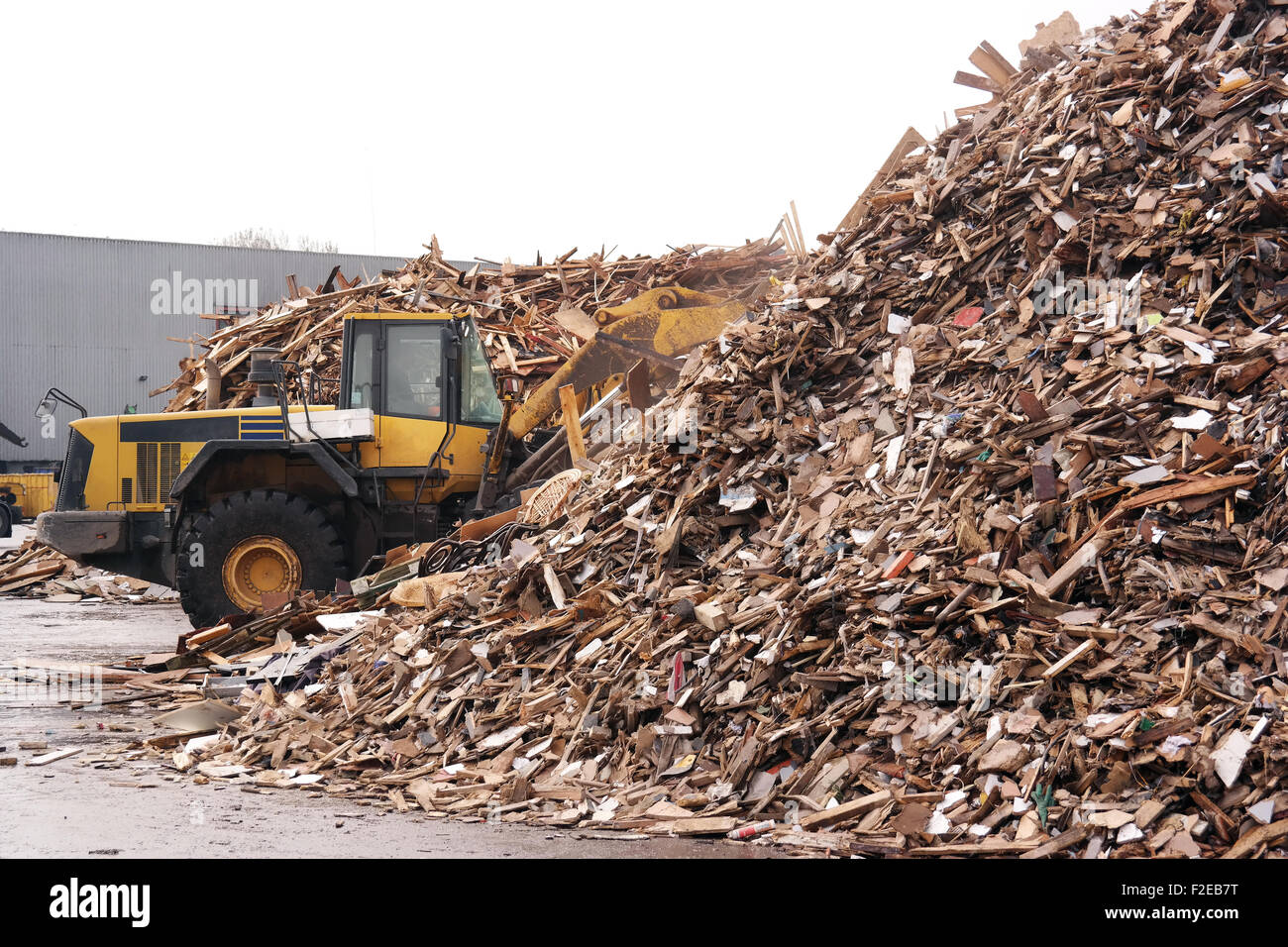 Shovel accumulate a pile of woodchips for use as a biomass solid fuel. - Stock Image