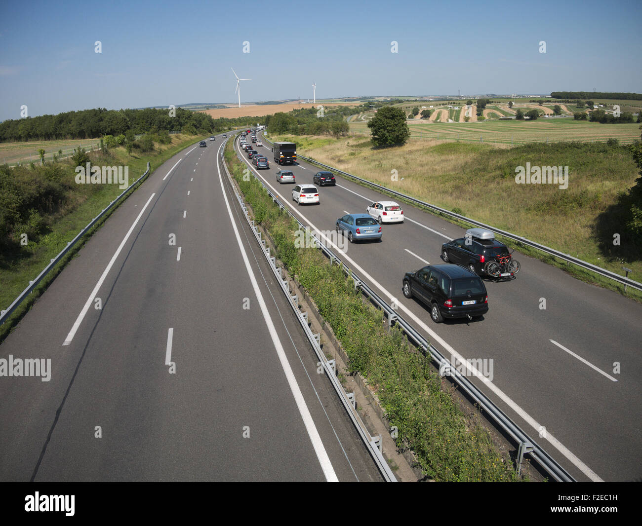 In France there is an efficient system of autoroutes or motorways most of which are toll roads - Stock Image