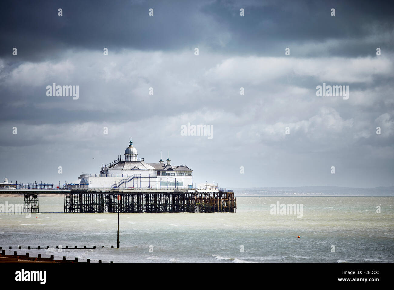 Eastbourne Pier is a seaside pleasure pier in Eastbourne, East Sussex, on the south coast of England is the town's Stock Photo