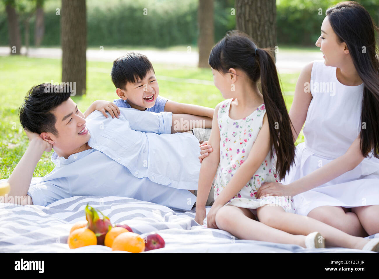 Happy young family having picnic on grass - Stock Image