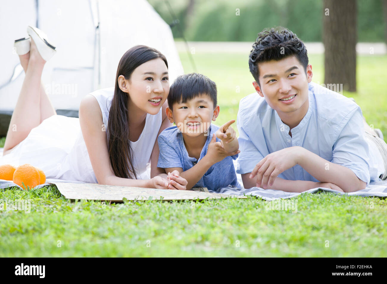 Happy young family lying on grass - Stock Image