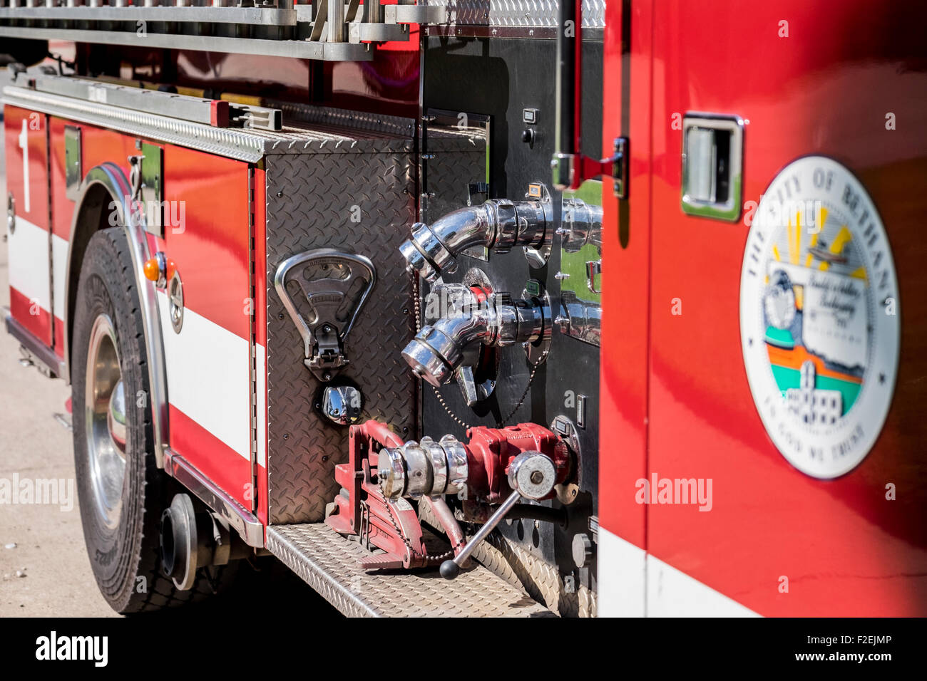 A fire engine showing part of the equipment close up in Bethany, Oklahoma. - Stock Image