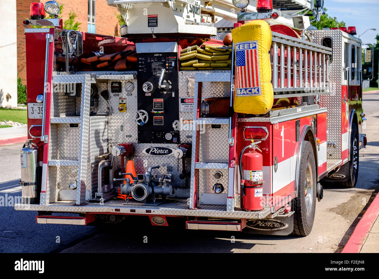 A fire engine showing the back end in Bethany, Oklahoma, USA - Stock Image