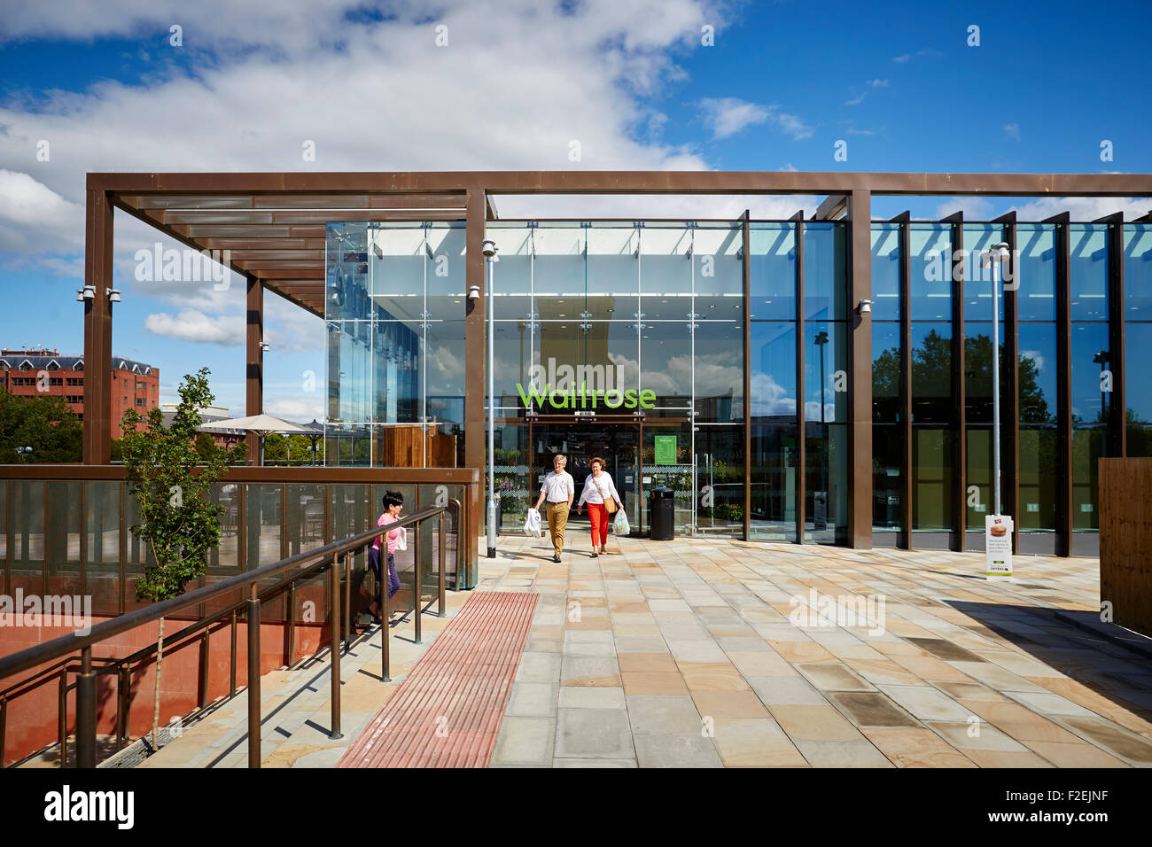 Waitrose store in Chester next to the Shropshire Union Canal   Pictured  exterior of the store Shops shopping shopper - Stock Image
