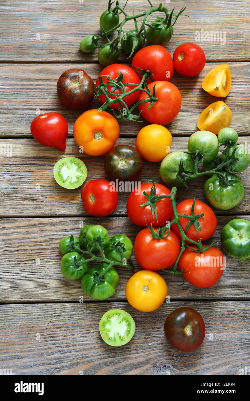 variety of tomatoes, top view - Stock Image