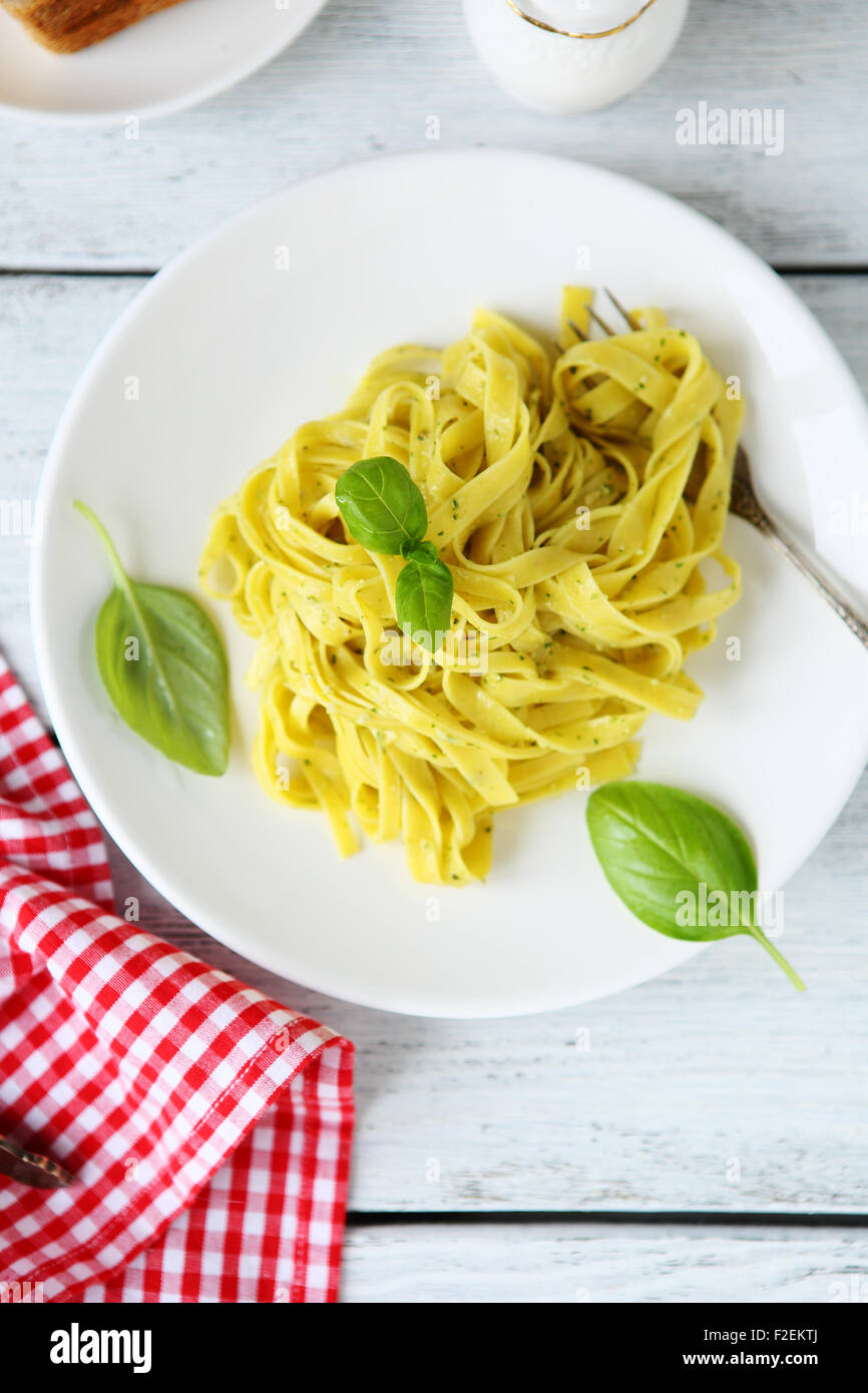Nutritious pasta with herbs. Top view - Stock Image