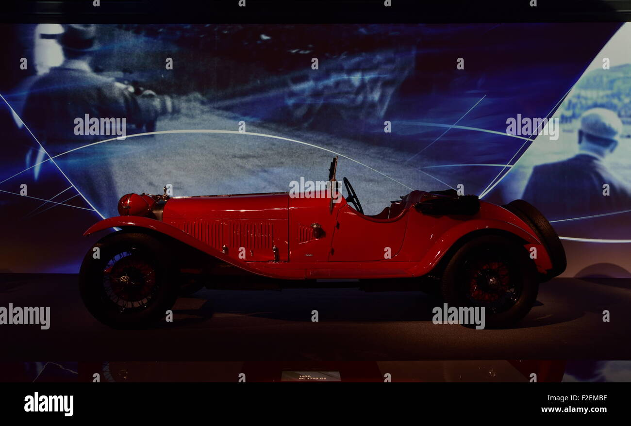 1930 8C 1750 Gran Premio at the Alfa Romeo museum in Arese. Stock Photo
