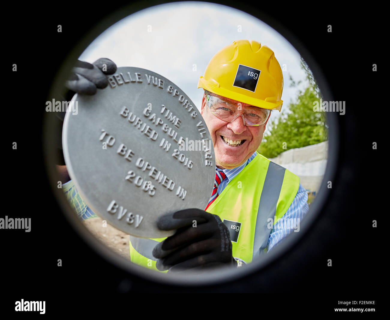 David Gordon, CEO Belle Vue Aces with Time capsule burial. Stock Photo