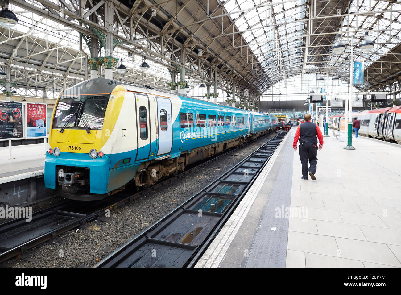 Manchester Piccadilly railway station an Arriva Trains Wales at the platform Arriva Wales is a British train operating - Stock Image