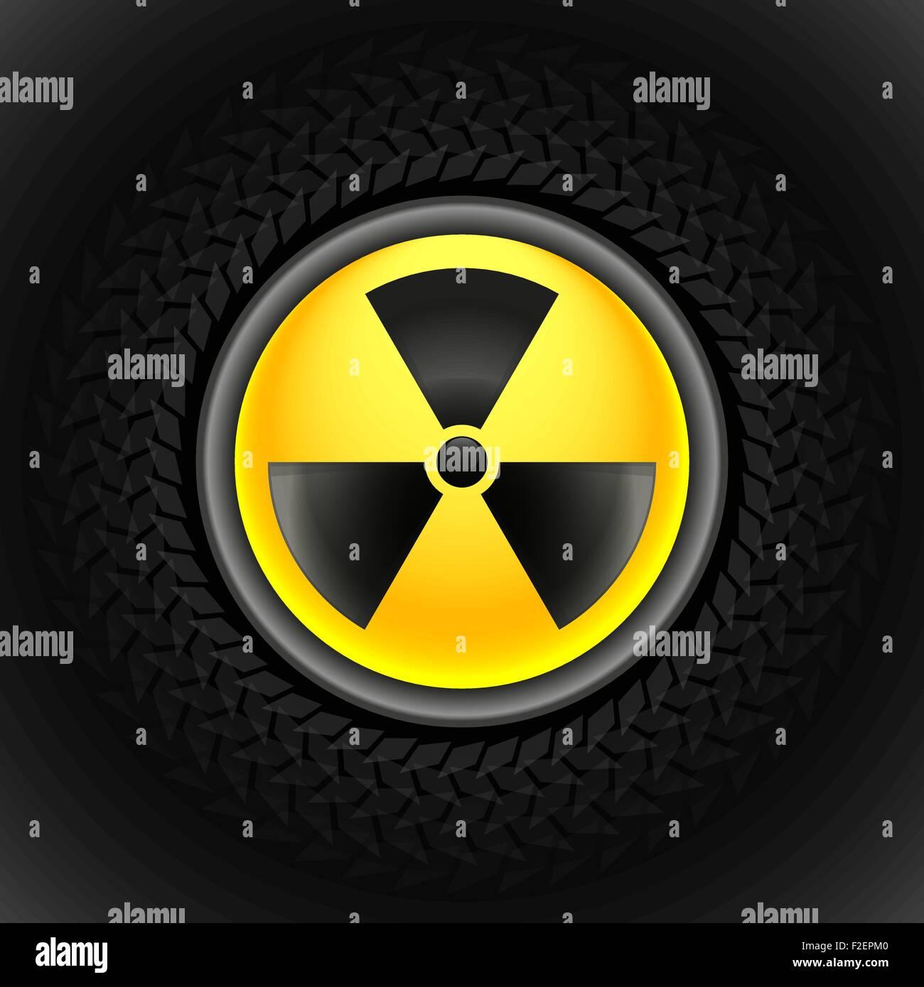 sign of radiation black - Stock Vector