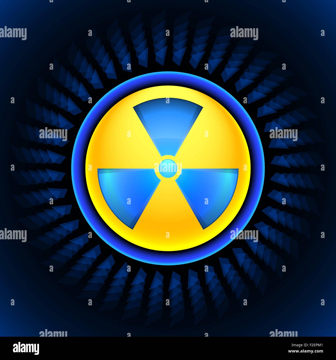 sign of radiation blue - Stock Vector