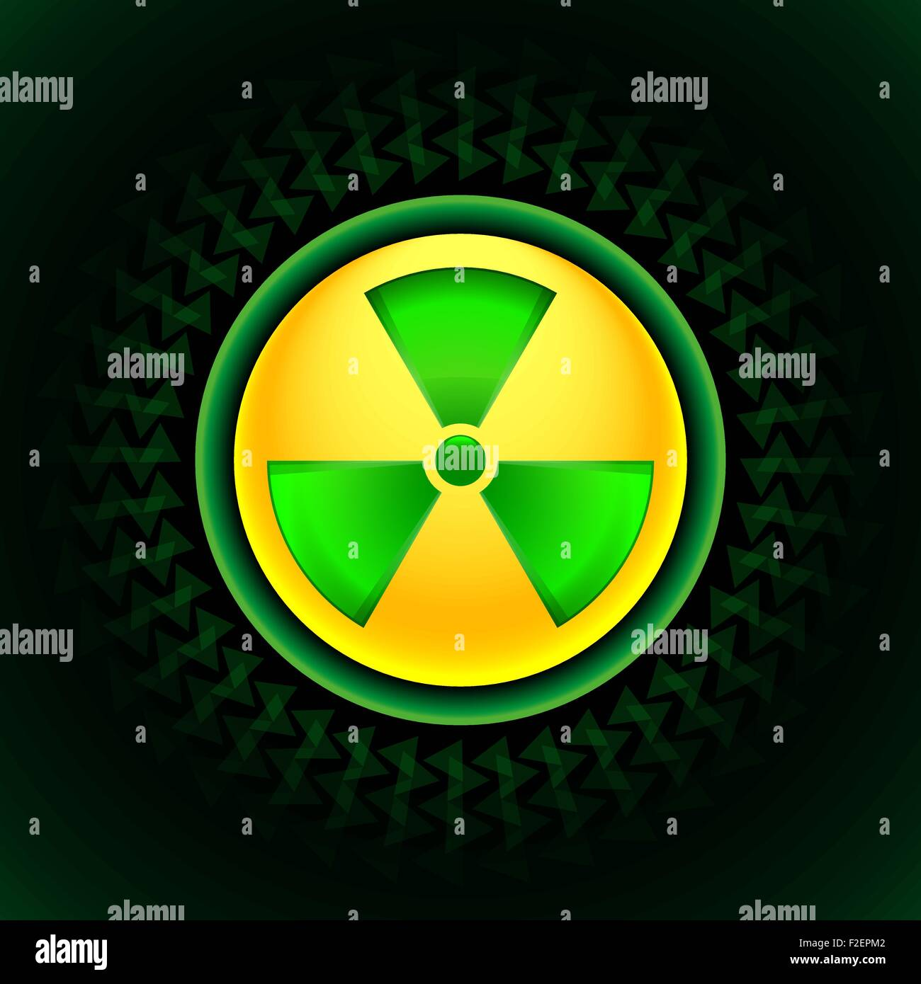 sign of radiation green - Stock Vector