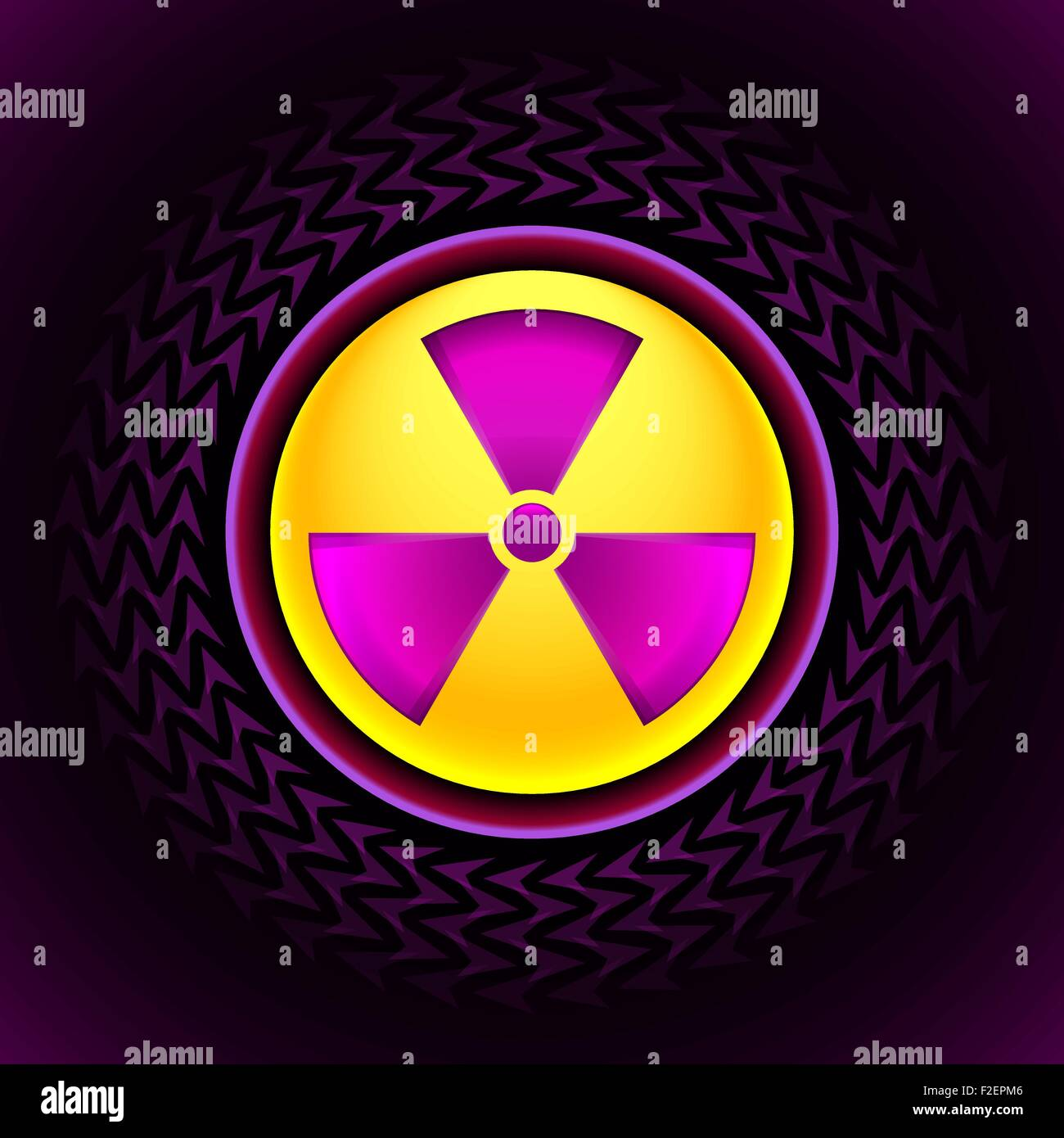 sign of radiation pink - Stock Vector