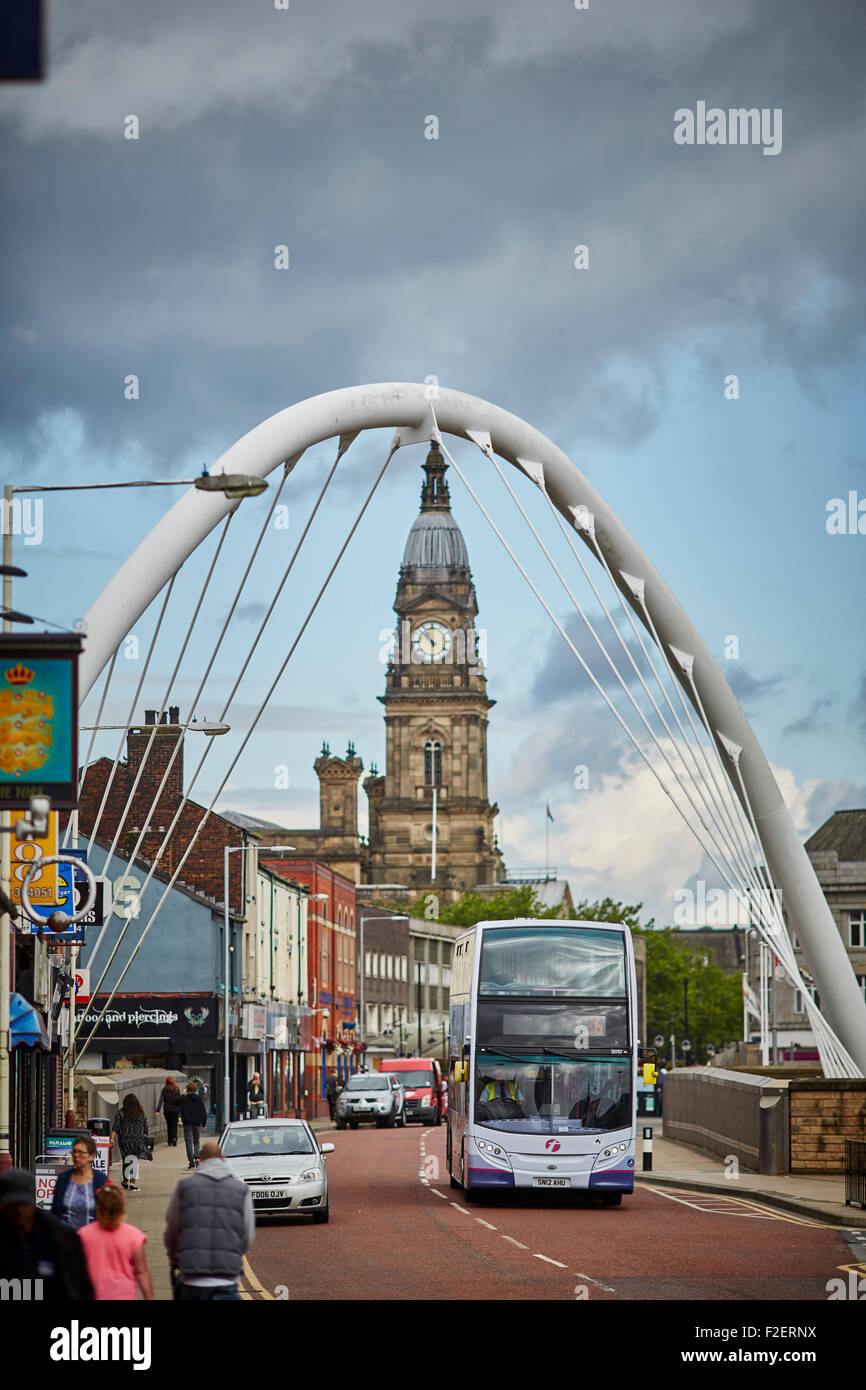 Bolton town hall  in the County of Lancashire framed by Gateway Bridge Arch  copyspace first bus operators Bus buses - Stock Image