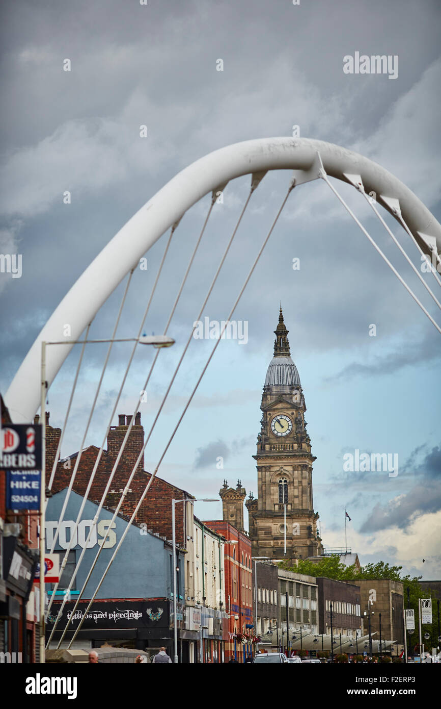 Bolton town hall  in the County of Lancashire framed by Gateway Bridge Arch  copyspace grade 2 two listed building - Stock Image