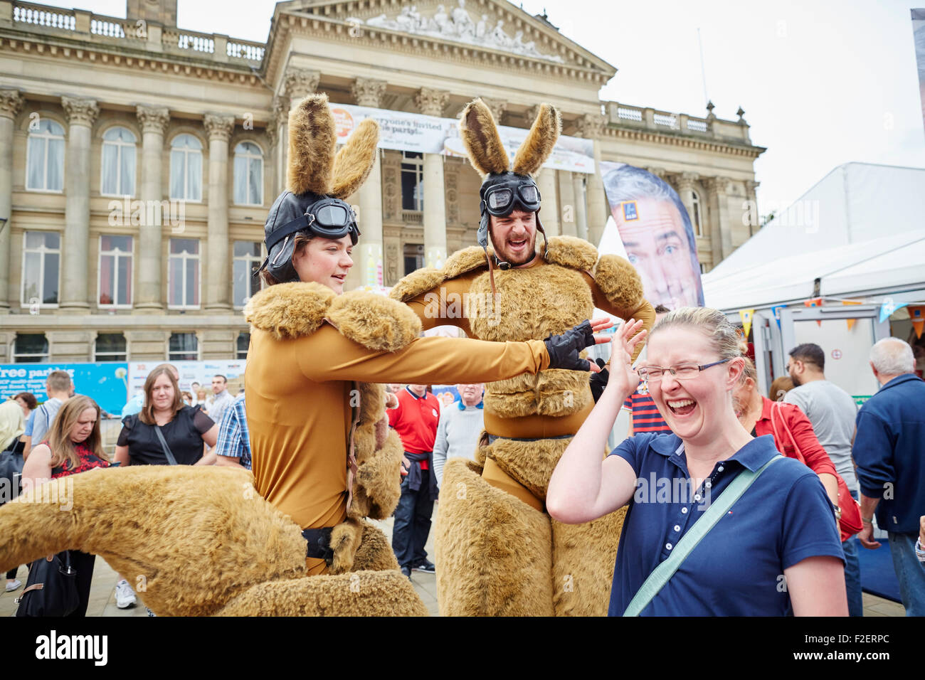 ALDI sponsored 10th Bolton Food and Drink Festival 2015   Kangaroo caricature street entertainers performing performance - Stock Image