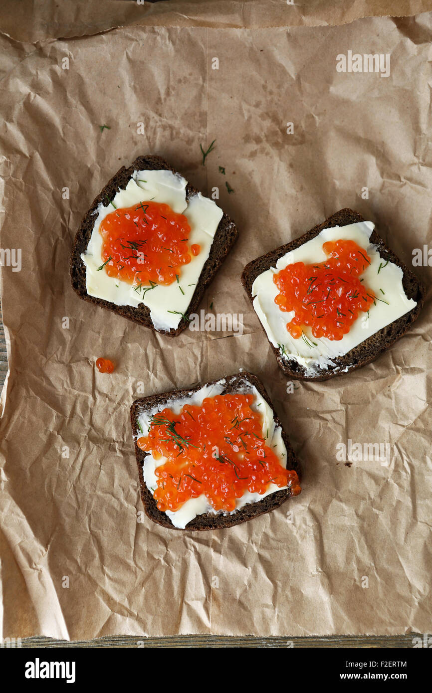 Slices of bread with caviar, food Stock Photo