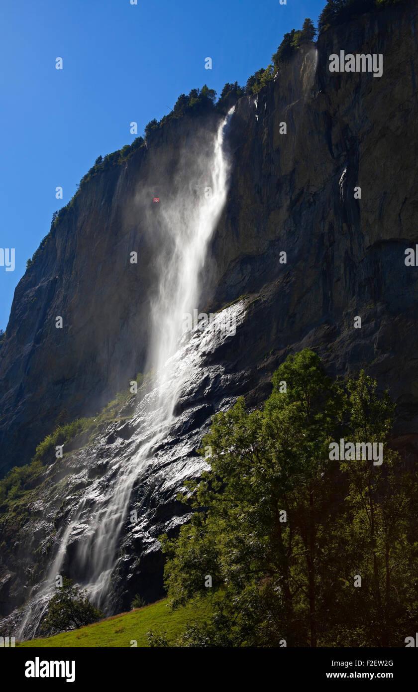 staubbachfall waterfall Lauterbrunnen Switzerland Europe - Stock Image