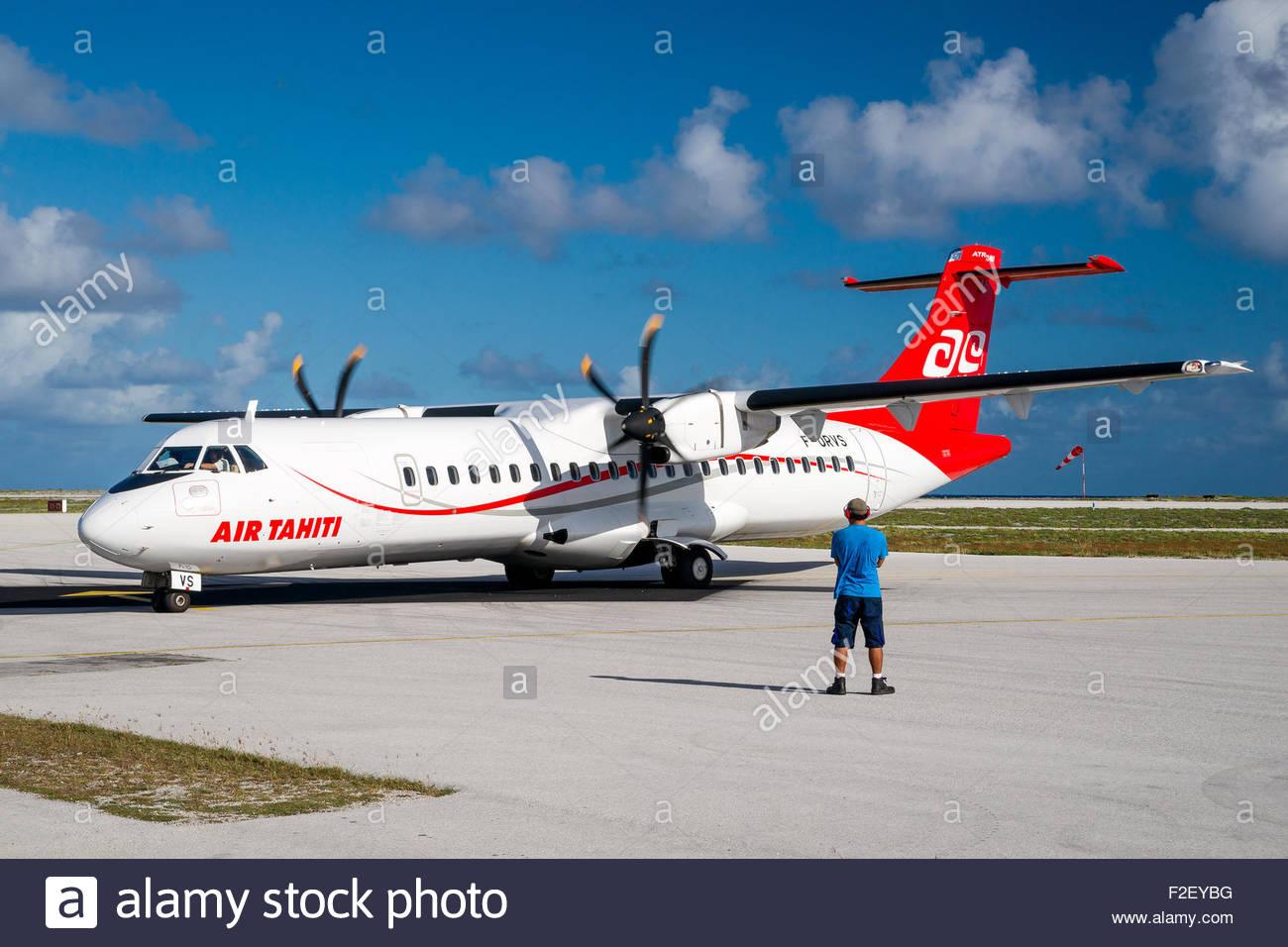Air Tahiti ATR airplane in French Polynesia Stock Photo