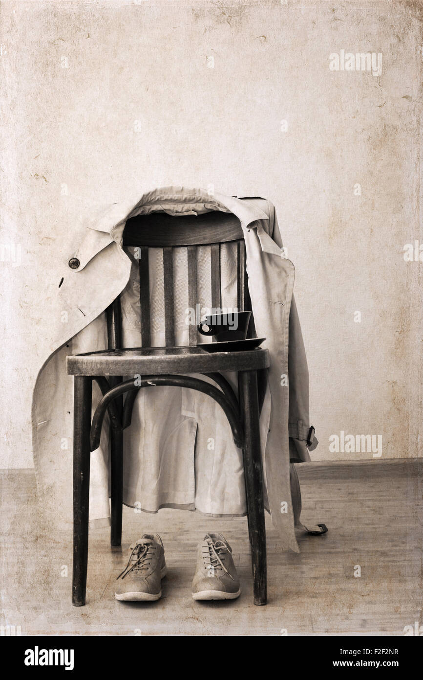 Artwork in retro style,  vintage chair, classic trench,  sport shoes, cup of coffee - Stock Image
