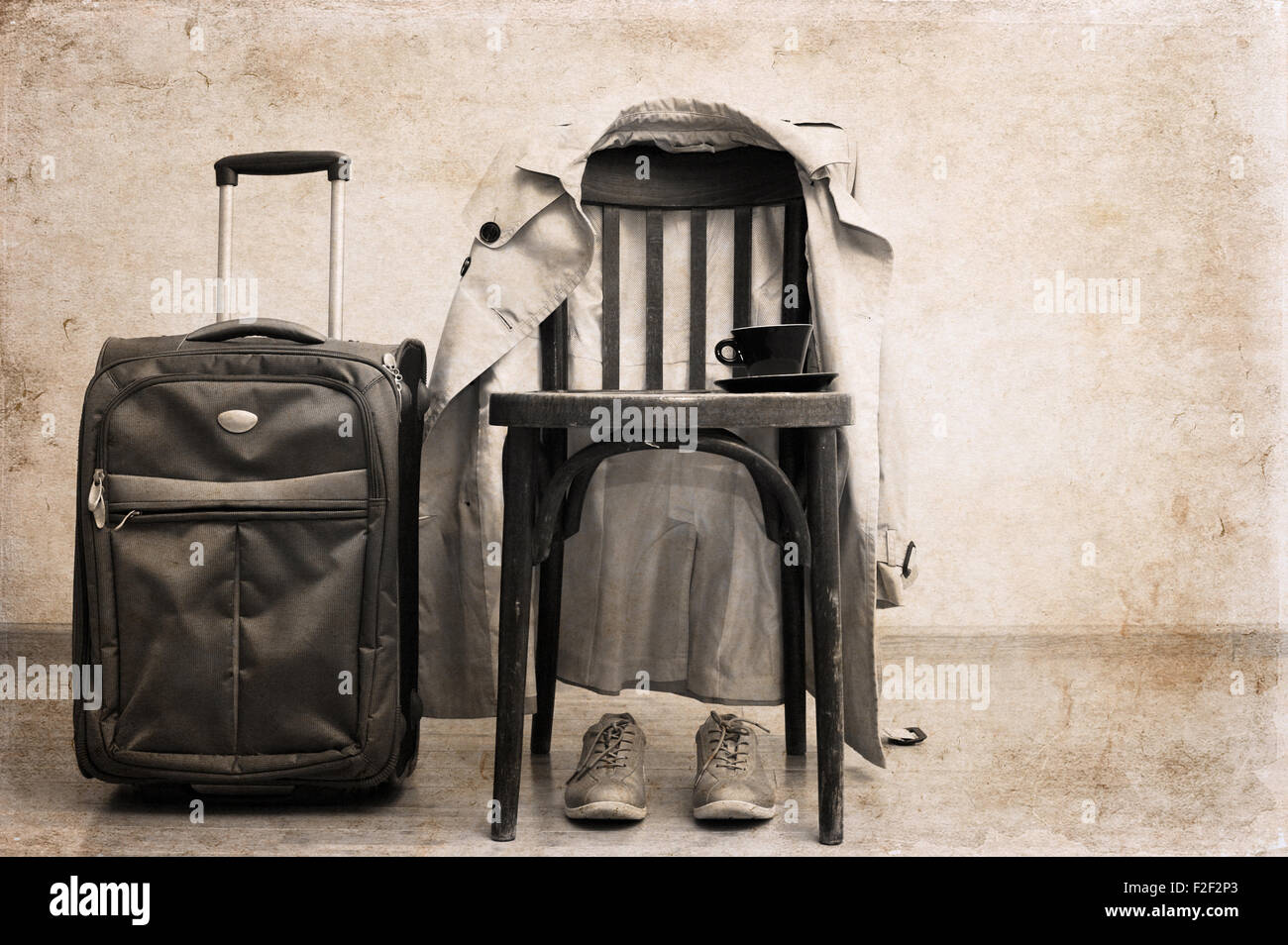 Artwork in retro style,  vintage chair, classic trench,  sport shoes, suitcase, cup of coffee - Stock Image