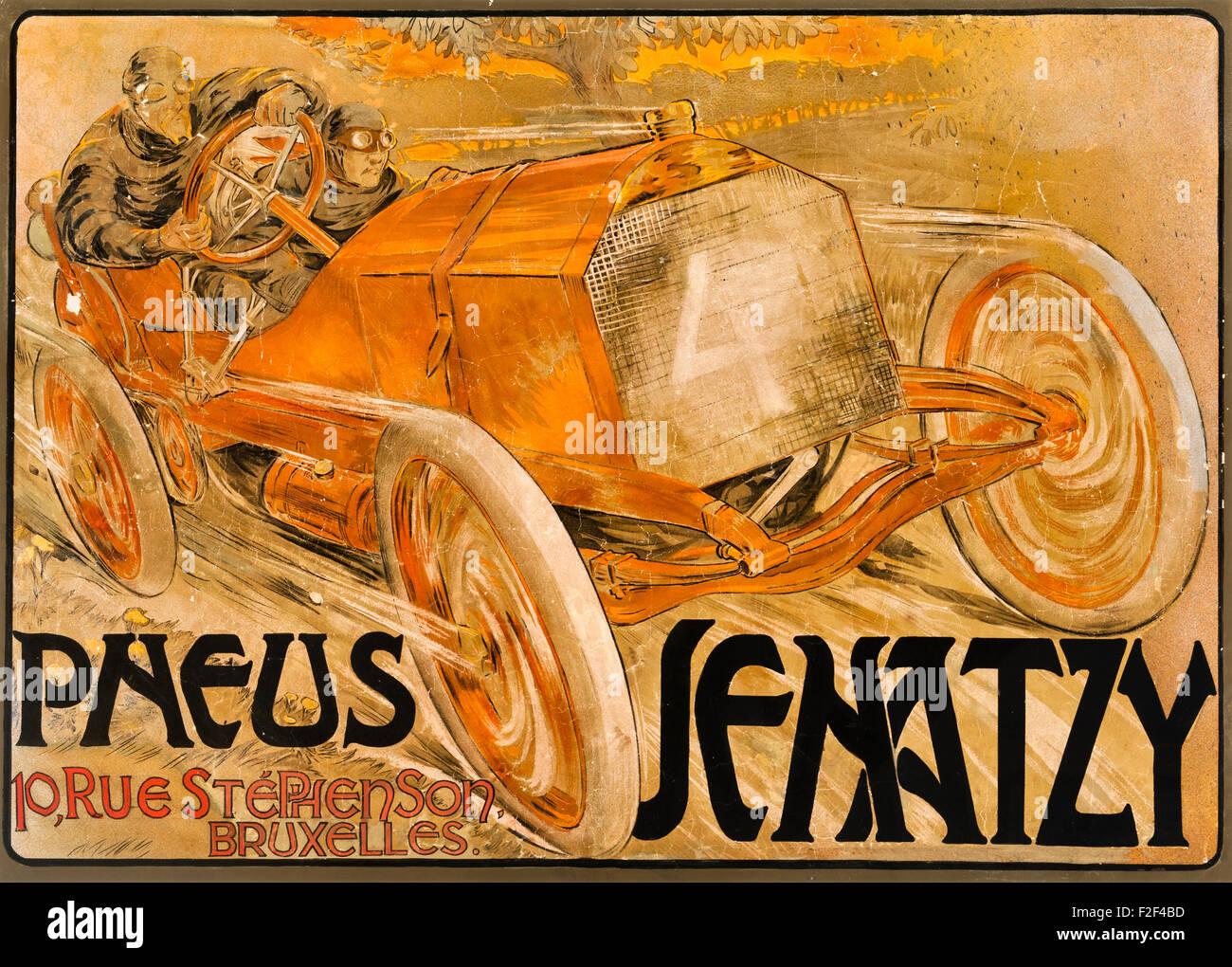 1906 Pneus Senatzy automobile racing poster by Georges Gaudy, advertising Senatzy car tyres - Stock Image