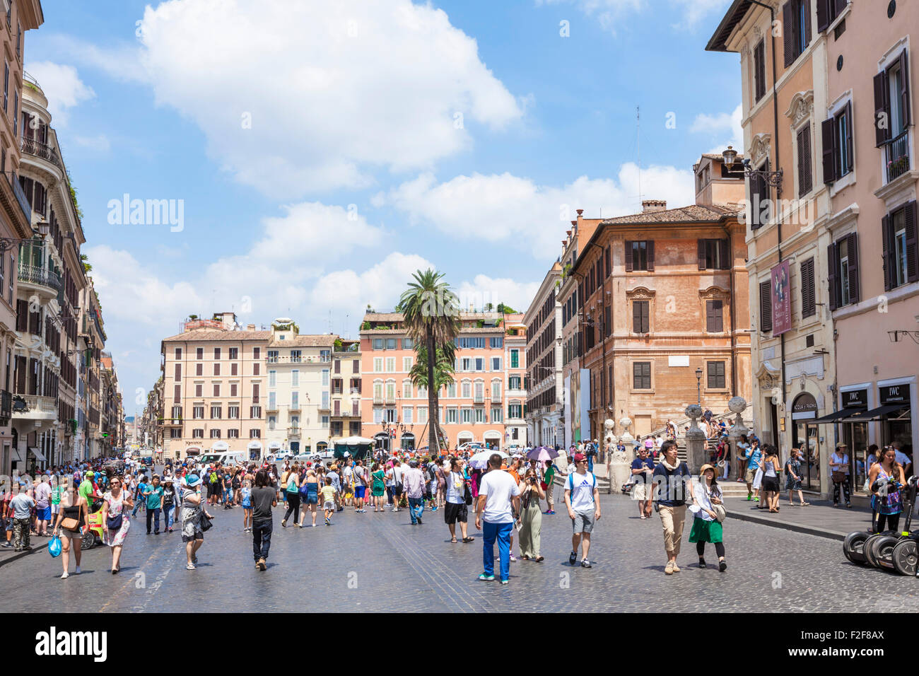 Tourists gathered in the  Piazza di spagna Roma Rome lazio Italy EU Europe - Stock Image