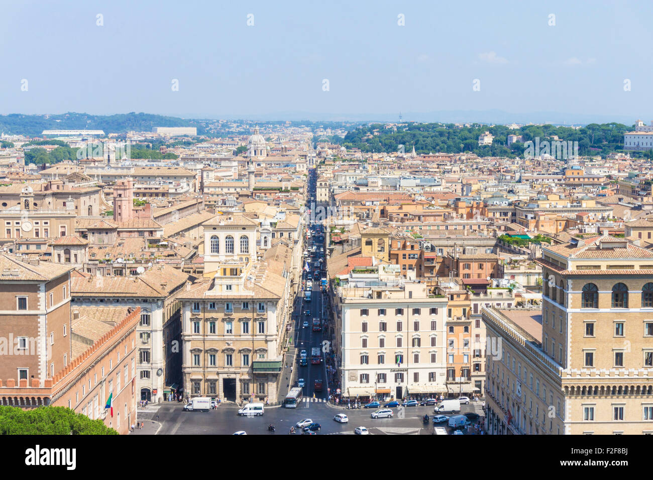 View of the rome skyline from rooftop of the Victor Emanuel II monument Piazza Venezia Rome Roma Lazio Italy EU - Stock Image