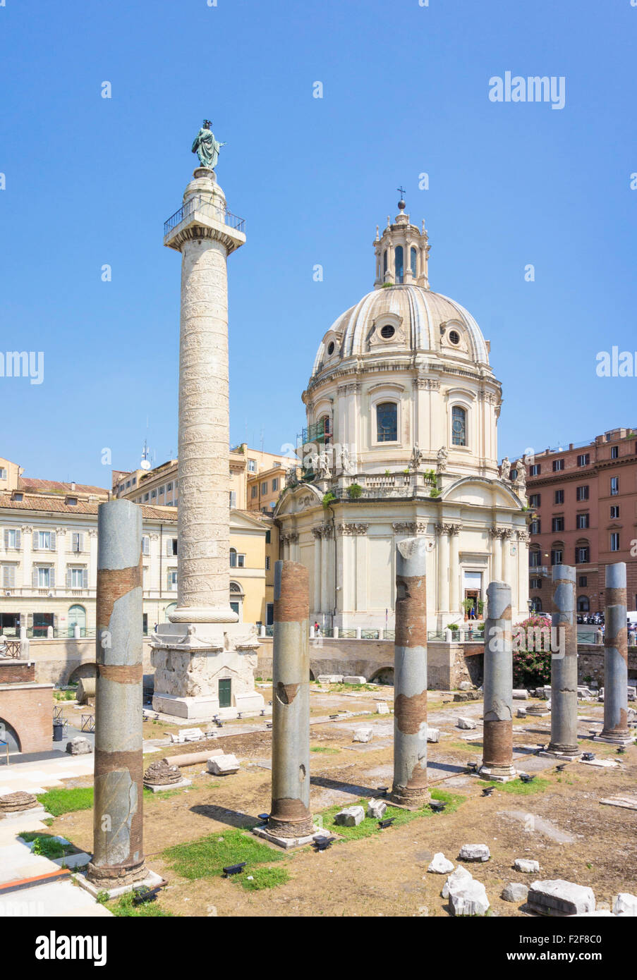 Trajan's column in the  forum are ruins on the Via dei Fori Imperiali in the city of Rome Italy Roma lazio EU - Stock Image