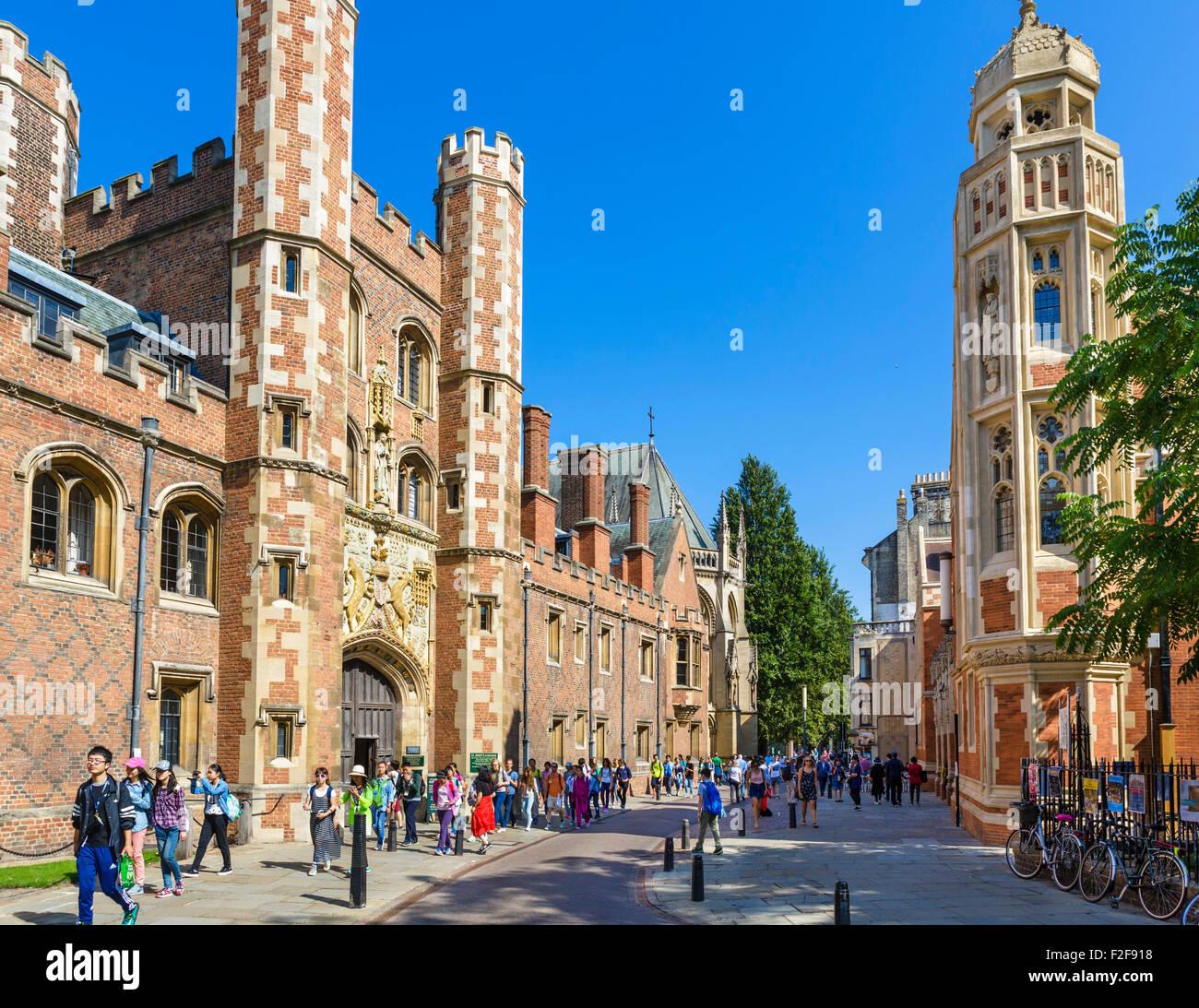 St Johns Street outside St John's College, Cambridge University, Cambridge, Cambridgeshire, England, UK - Stock Image