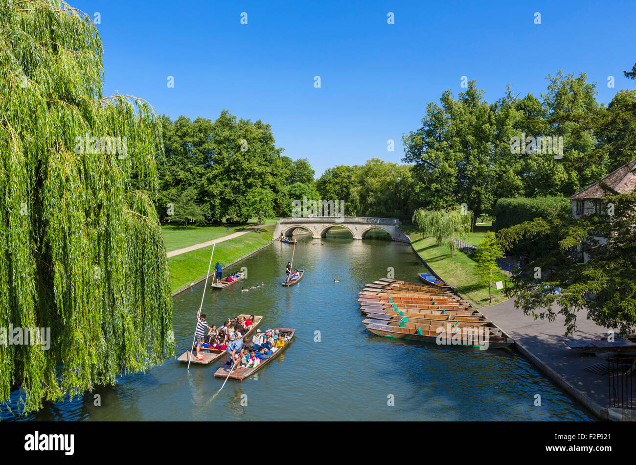 River Cam viewed from Garret Hostel Bridge looking towards Trinity College Bridge, The Backs, Cambridge, England, - Stock Image