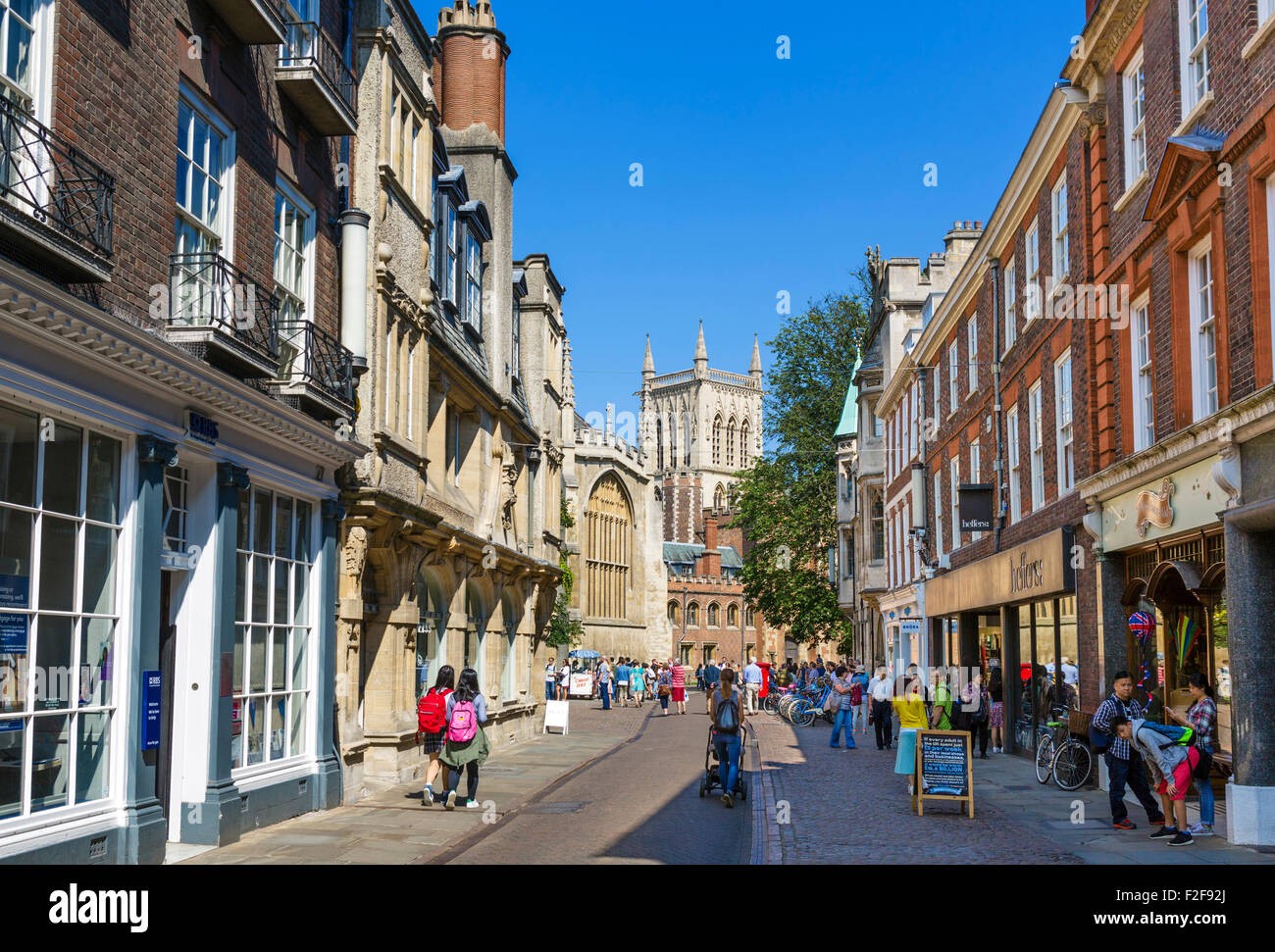 Trinity Street in the city centre, Cambridge, Cambridgeshire, England, UK - Stock Image