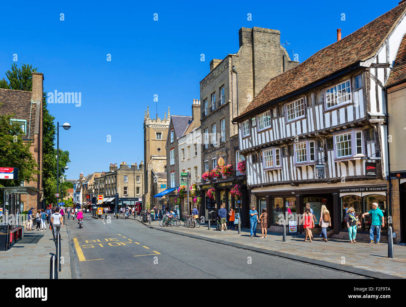 Bridge Street in the city centre, Cambridge, Cambridgeshire, England, UK - Stock Image
