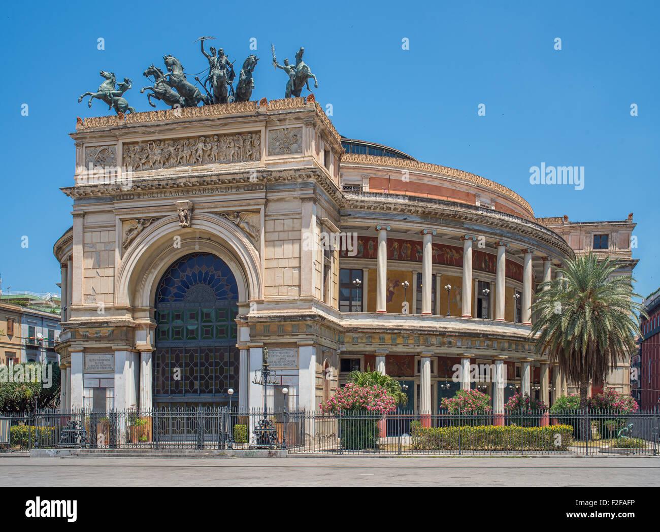 Politeama Garibaldi theater in Palermo, Sicily. Italy. Stock Photo