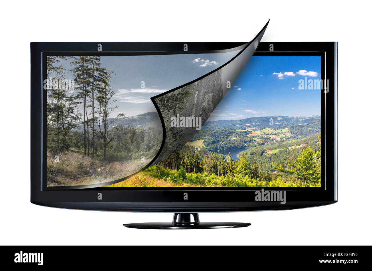 Television display with new technology. Full ultra HD 8k on modern TV. - Stock Image