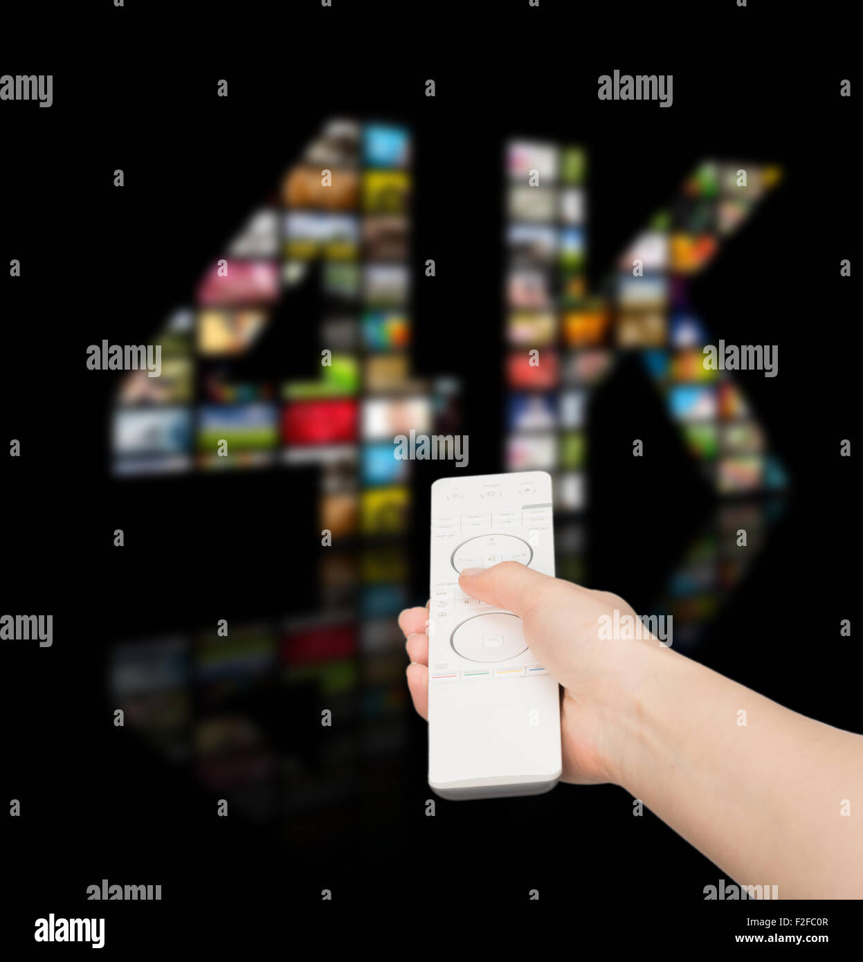 Television 4k resolution technology concept isolated on black. - Stock Image
