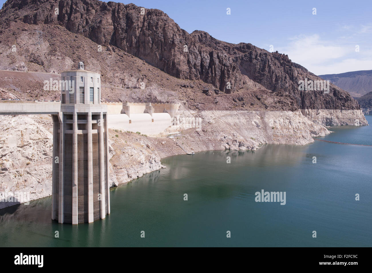 Lake Mead has dropped in water level at Hoover Dam over the years of drought in the western United States. Stock Photo