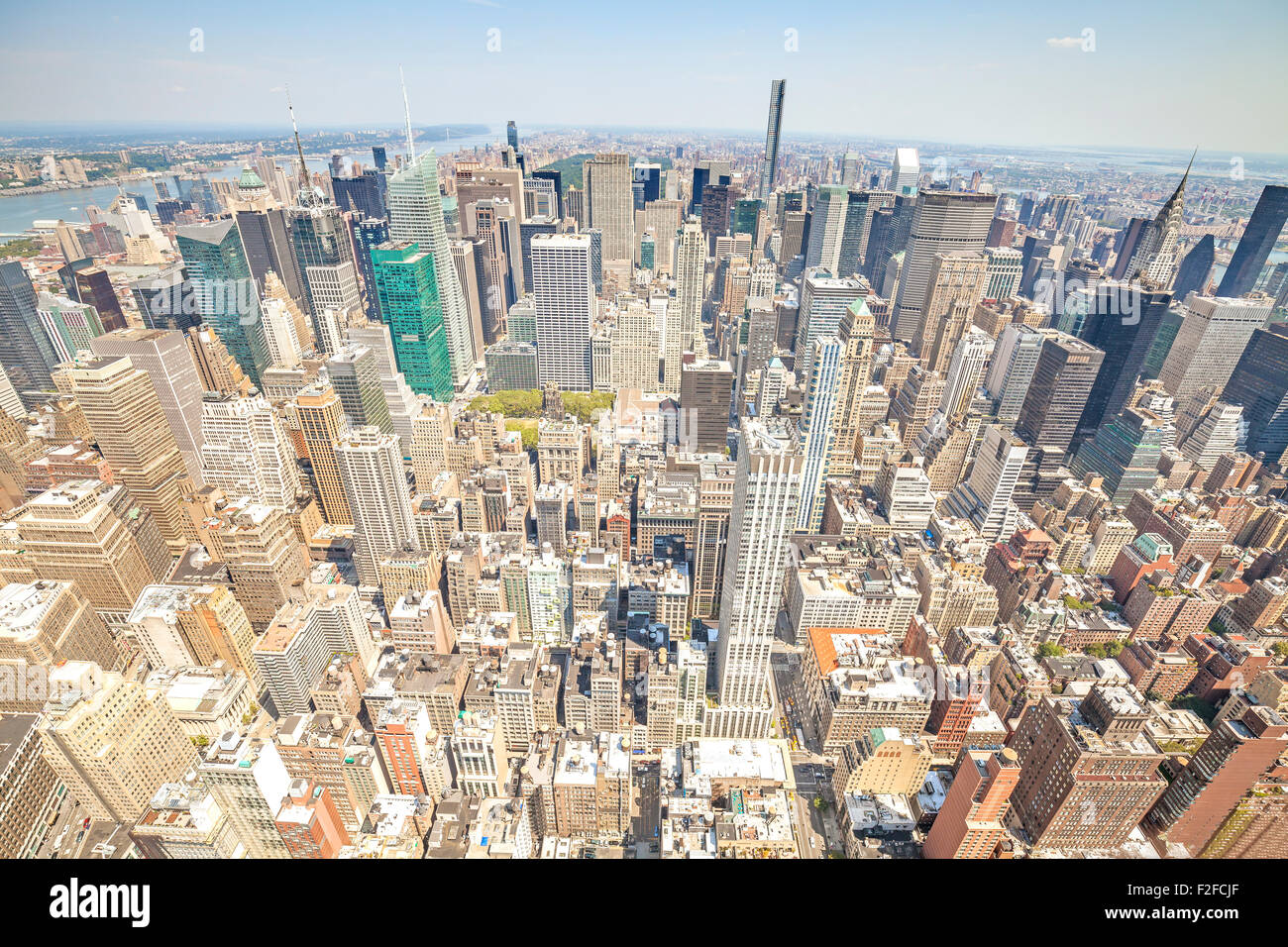 Aerial view picture of Manhattan, New York City downtown, USA. - Stock Image