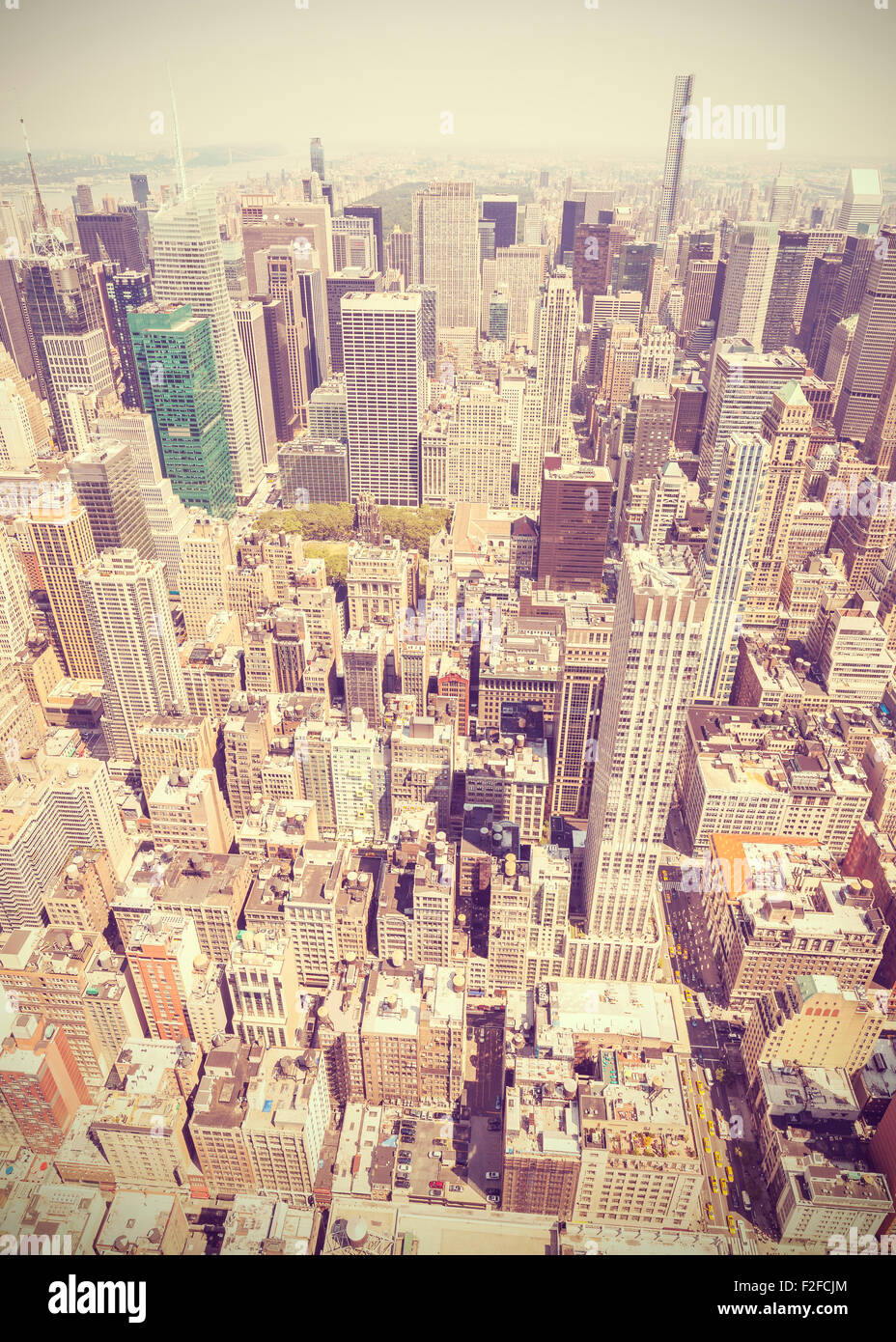Retro style aerial picture of Manhattan, New York City downtown, USA. - Stock Image