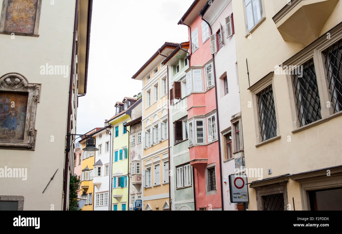 View of buildings in the street, Bolzano - Stock Image
