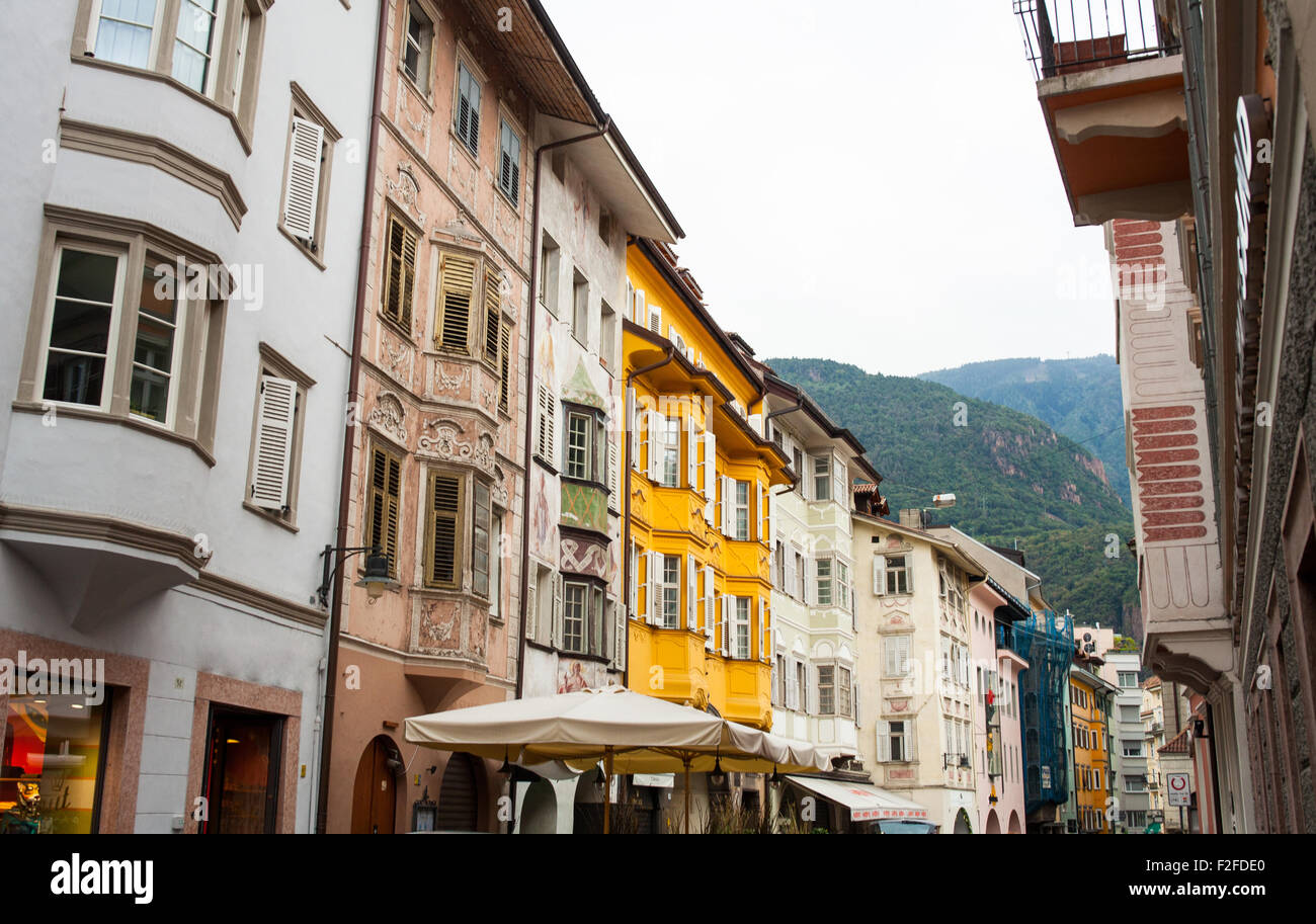 View of buildings in the street, Bolzano Stock Photo