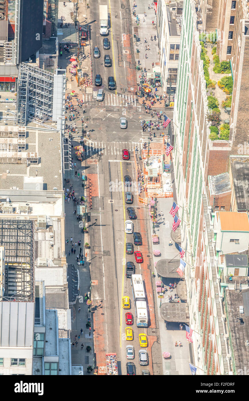 Aerial picture of street in Manhattan, New York City downtown, USA. - Stock Image