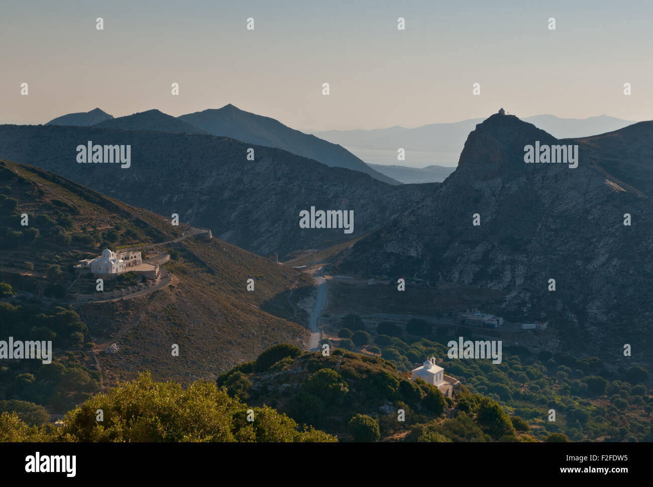Hilltop chapels, mountains of Greek island of Naxos, Cyclades - Stock Image