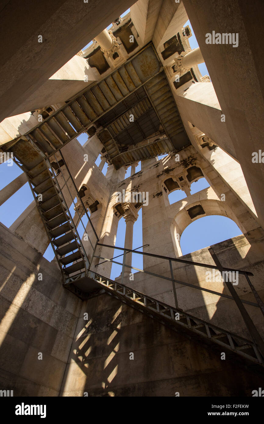 Stairs Inside The Bell Tower Of Cathedral Of Saint Domnius At The  Diocletianu0027s Palace In Split, Croatia, Viewed From Below.