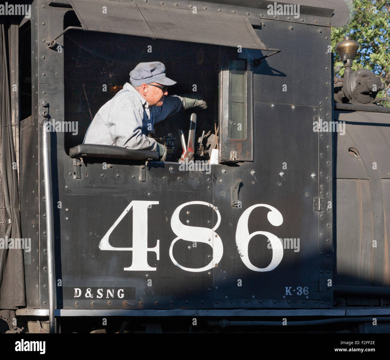 Engineer at the controls of steam locomotive 486 of the Durango & Silverton Narrow Gauge Railroad, Durango, - Stock Image