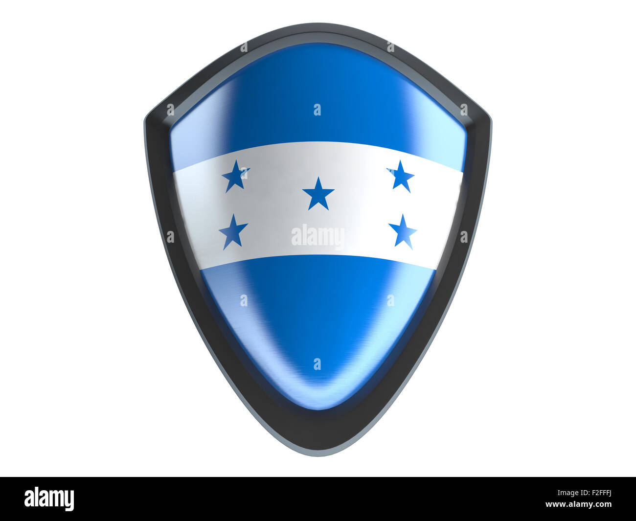 Honduras flag on metal shield isolate on white background. Stock Photo